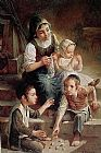 Unknown Artist Children on the stairs painting